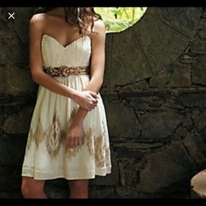 Anthropologie wind catcher creme gold dress 6